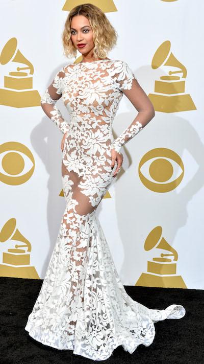 Beyonce white Grammys dress