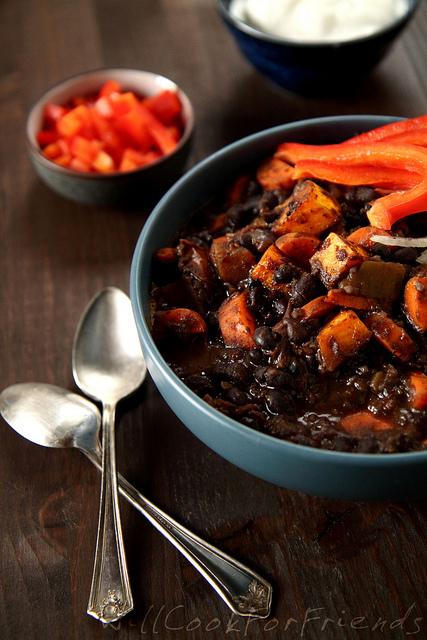 Black bean butternut squash chili