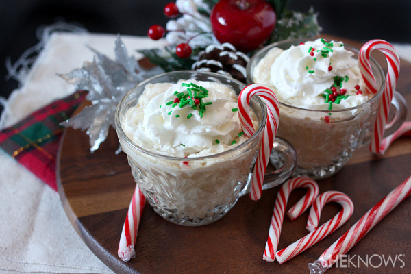 Boozy peppermint eggnog latte with homemade candy cane syrup