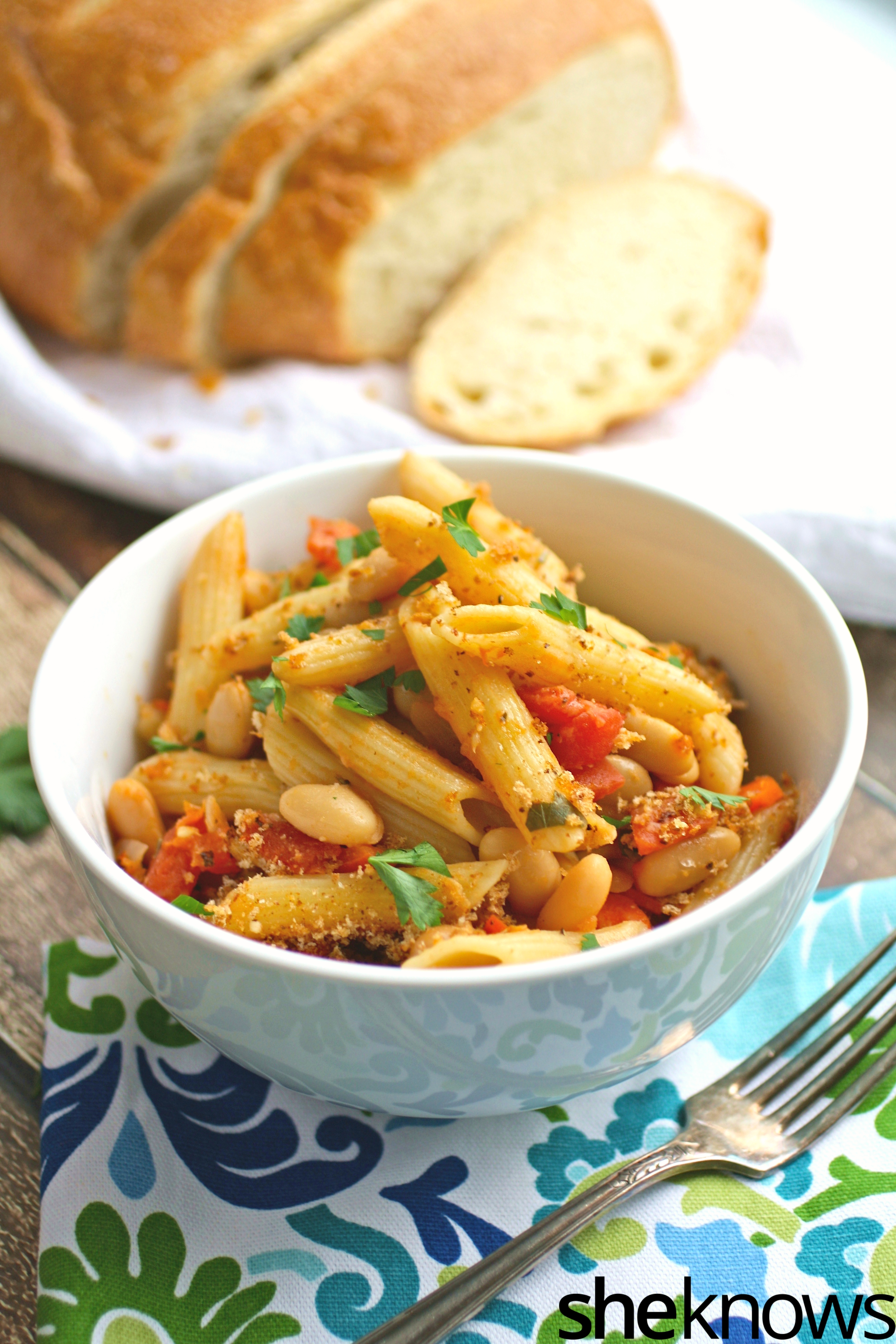 Baked pasta e fagioli (pasta and beans) makes a wonderful Meatless Monday meal