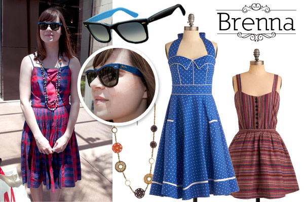 vintage style dresses, necklace and sunglasses