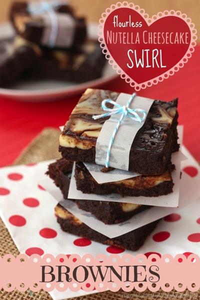 Flourless Nutella cheesecake swirl brownies
