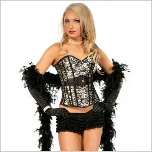 Burlesque corset and feather boa