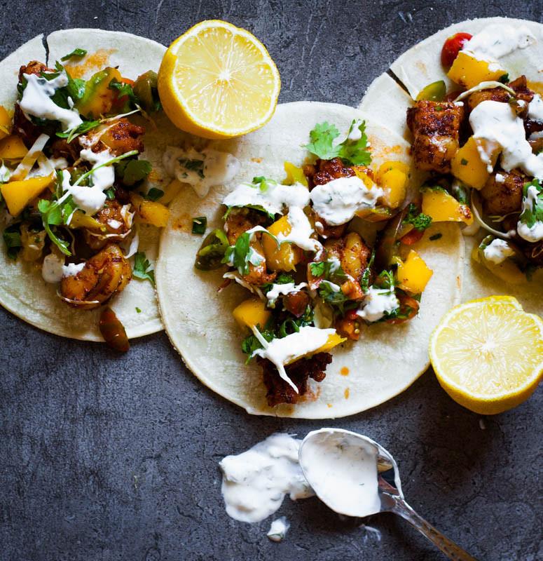 Cajun shrimp tacos with mango salsa