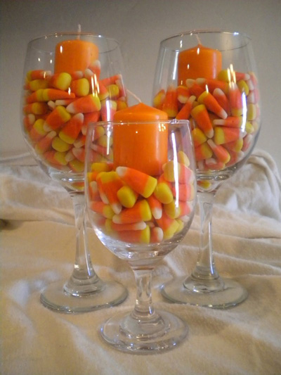 Candy corn votives