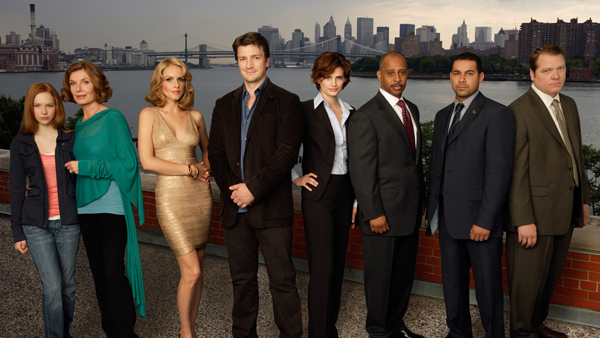 The Castle cast including (center) star Nathan Fillion
