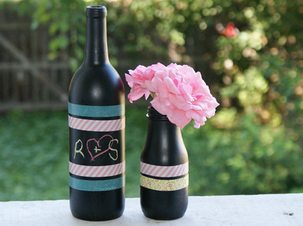 Chalkboard painted bottles