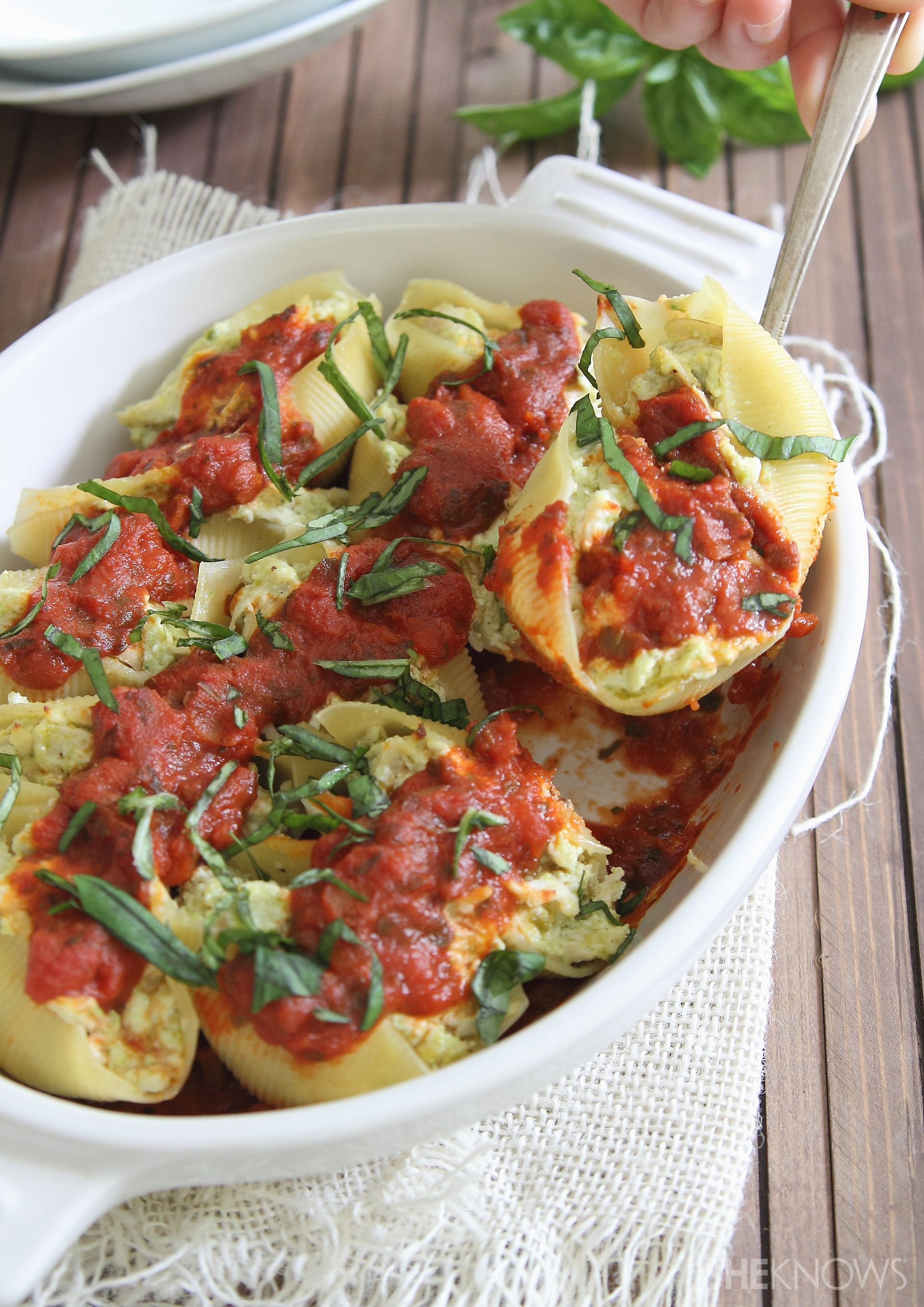 Cheesy pesto-chicken-stuffed shells
