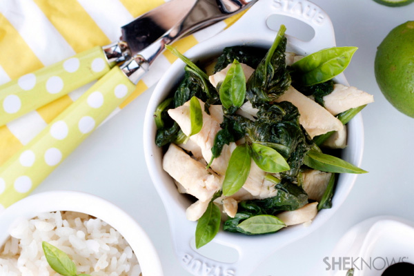 Chicken, basil & spinach stir-fry