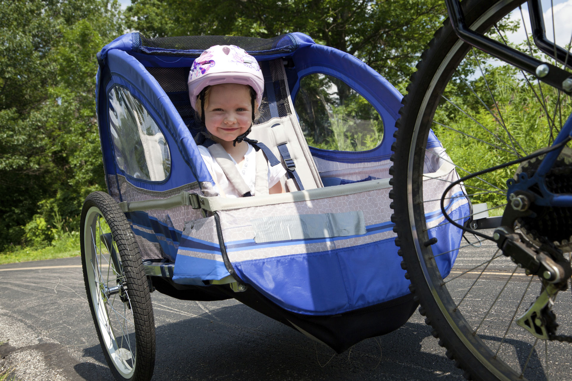 Child in bike trailer