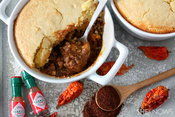 Chili topped with cornbread