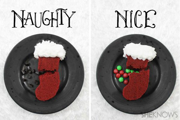 Naughty or nice stocking cakes