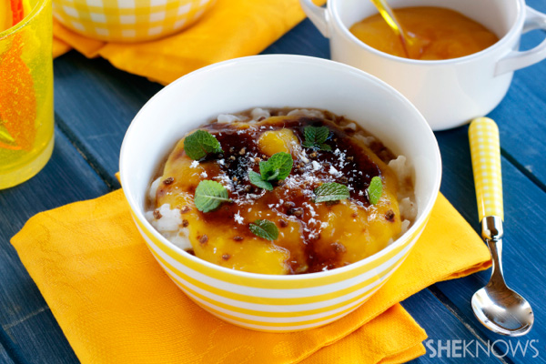 Coconut rice pudding with mango purée and rum caramel sauce