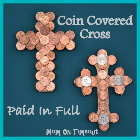 Coin covered cross Easter craft by Mom on Timeout