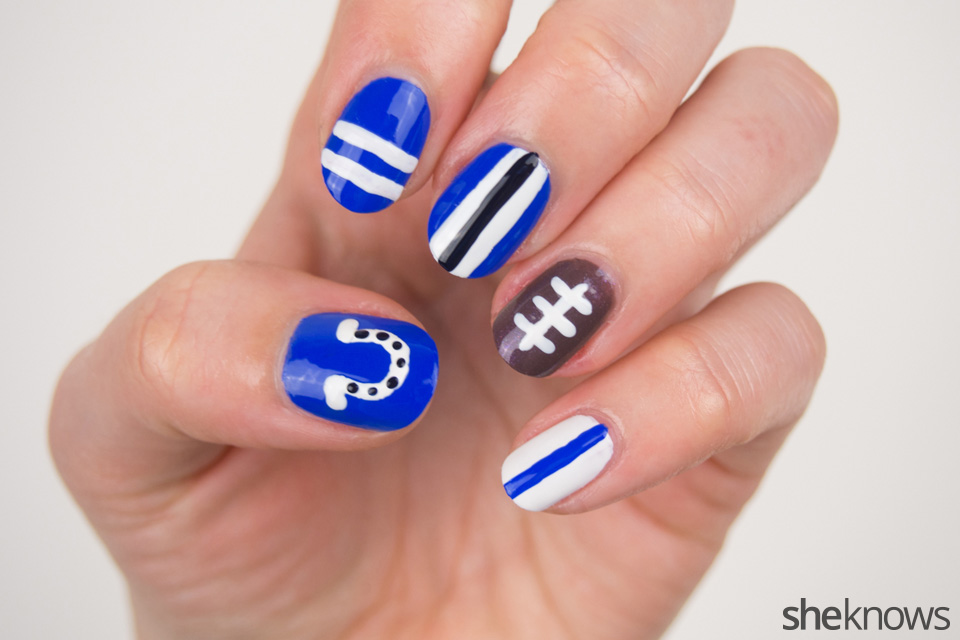 Easy Football Nail Art Tutorial For Indianapolis Colts Fans Sheknows