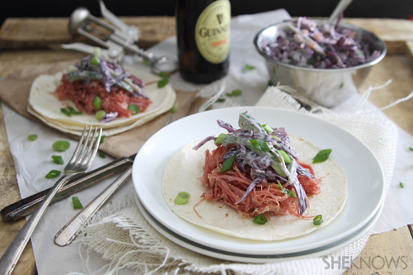 Corned beef tacos with spicy cabbage slaw