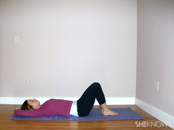 Fish pose (soles of feet together, arms overhead)