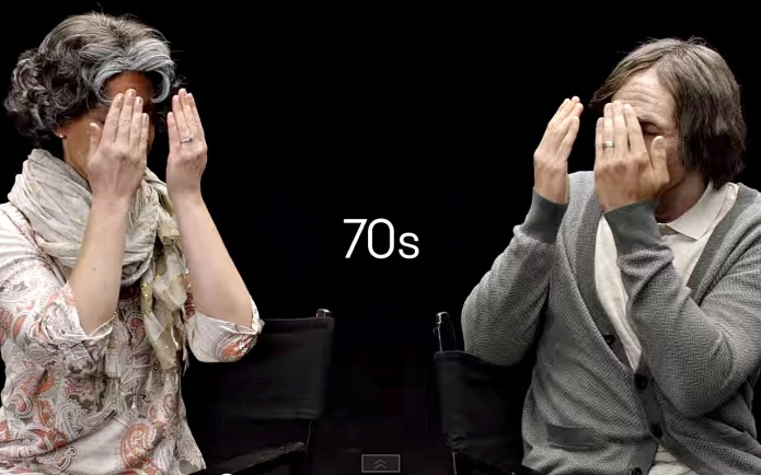 Couple emotionally watches each other age