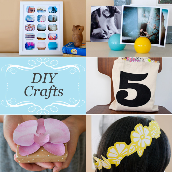 DIY gift ideas - photo collage, photo display ball, lucky number tote bag, paper orchid, floral paper crown