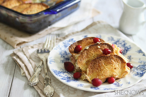Marscapone stuffed french toast with cranberries