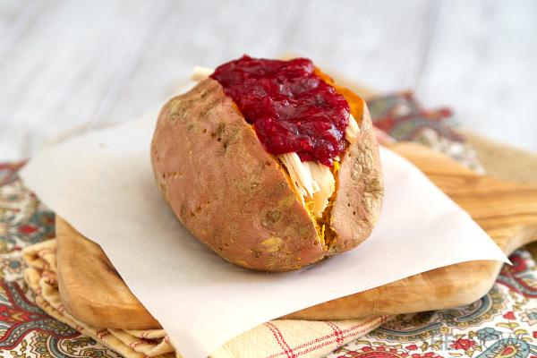 Cranberry and turkey stuffed sweet potatoes