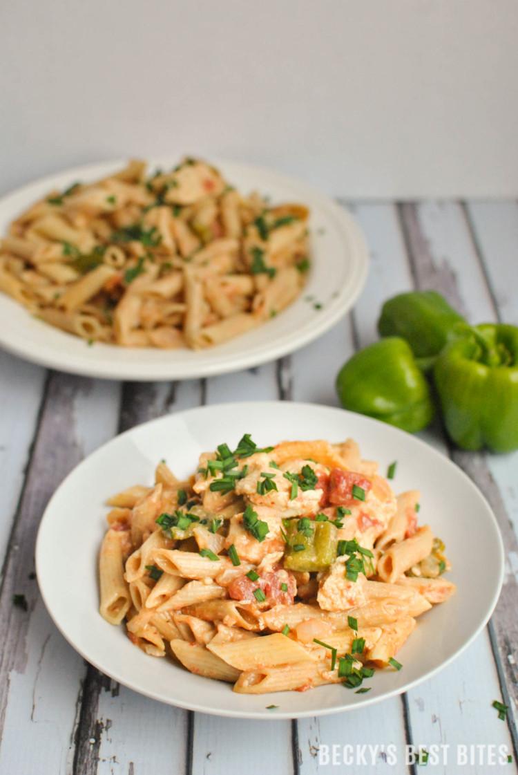Creamy harissa spiced chicken pasta