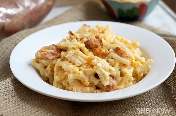 Creamy sweet potato and pork belly mac n' cheese