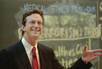 Crichton doing what he loved - teaching at Harvard
