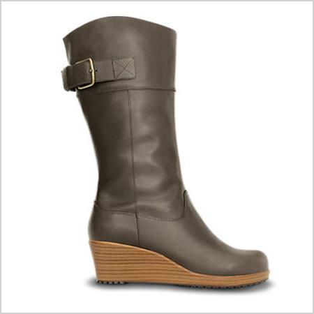 Crocs A-Leigh Leather Boot in Espresso/Walnut (Crocs, $100)