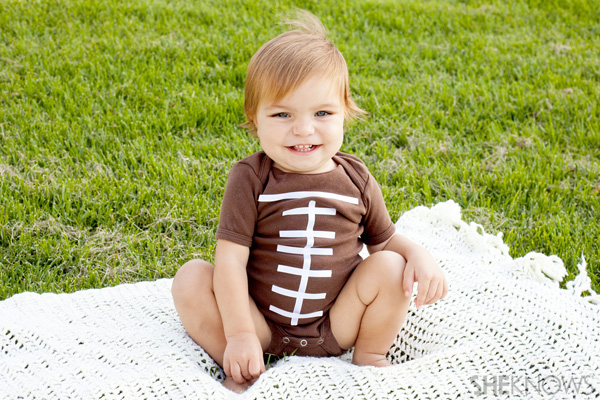 DIY football Halloween costume for babies