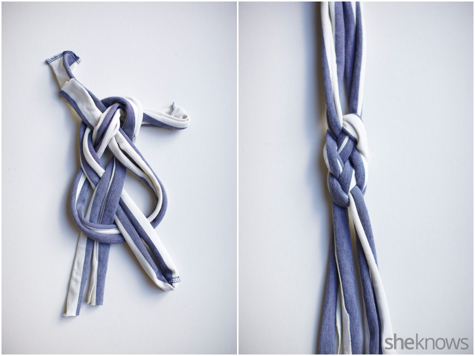 Sailor's knot T-shirt headband: How to tie a sailors knot