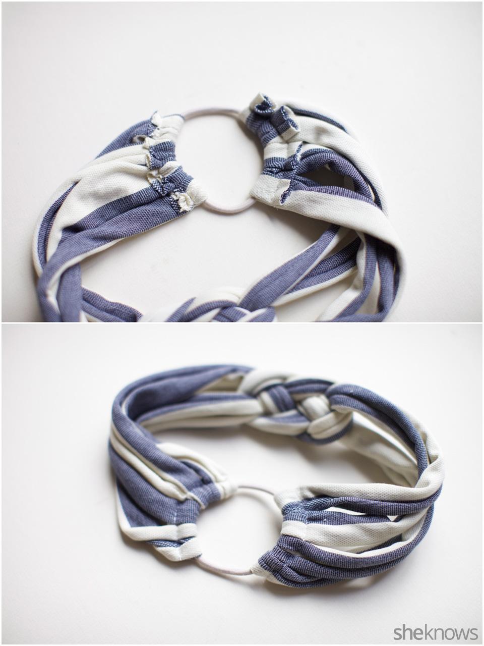 Sailor's knot T-shirt headband: Step 5