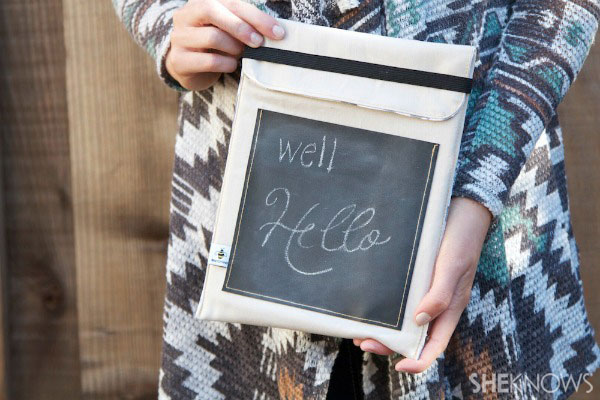 DIY lined tablet cover with chalkboard pocket