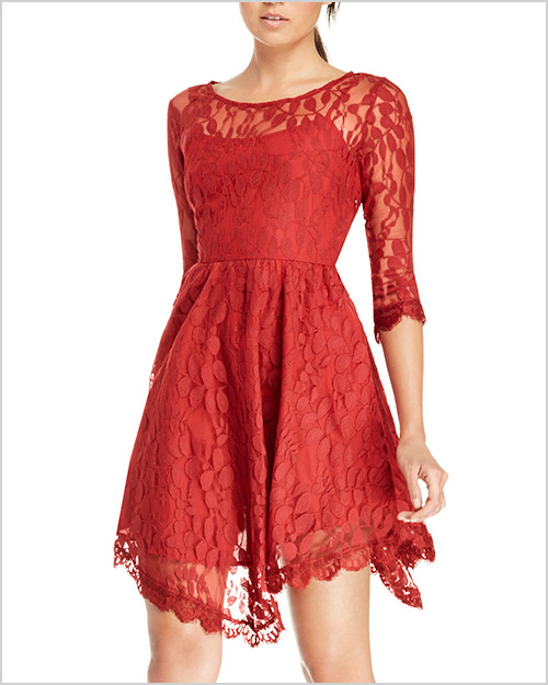 DailyLook Eyelash Lace Fit and Flare Dress