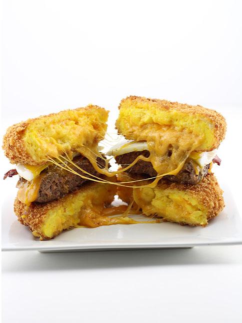 Dude Foods deep fried scrambled egg burger