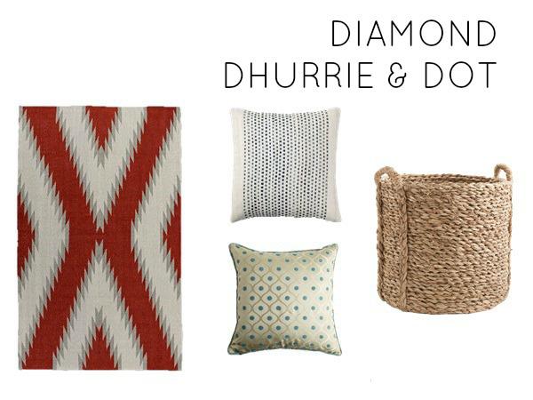 Diamond dhurrie and dot