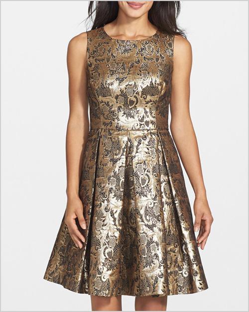 EIlza J Metallic Jacquard FIt & Flare Dress