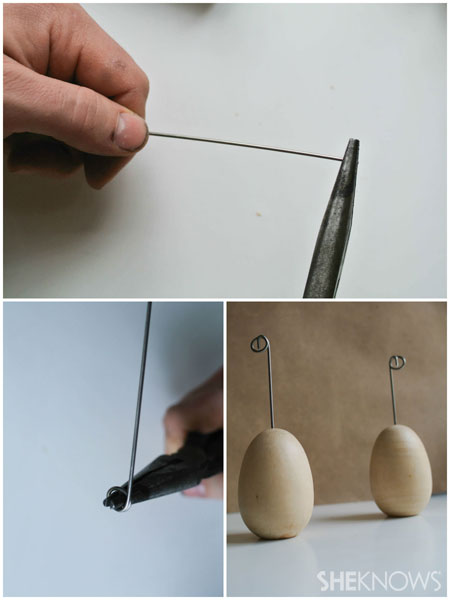 DYI Easter egg place card holders: Create the wire place card holder