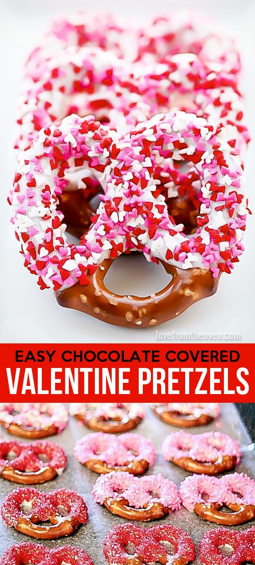 chocolate dipped valentines pretzels