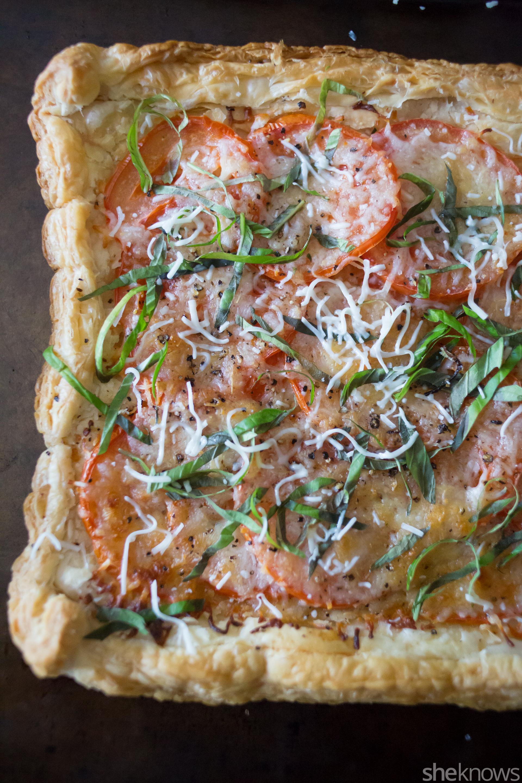 easy triple cheese tomato tart with basil