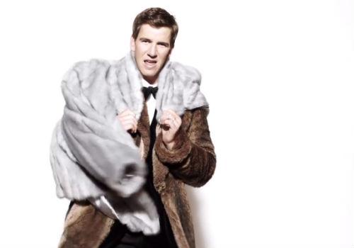 Eli Manning balling in fur coats