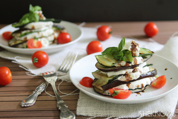 Grilled fall veggie stack with fresh ricotta