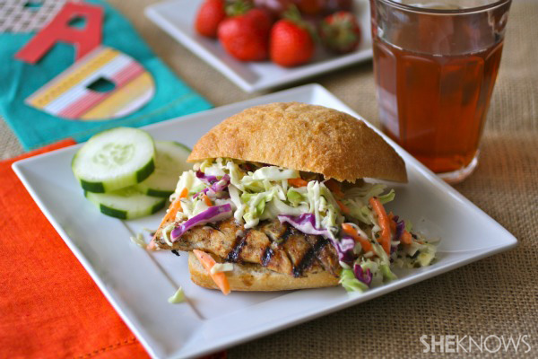 Father's Day grilled jerk fish sandwiches with creamy slaw