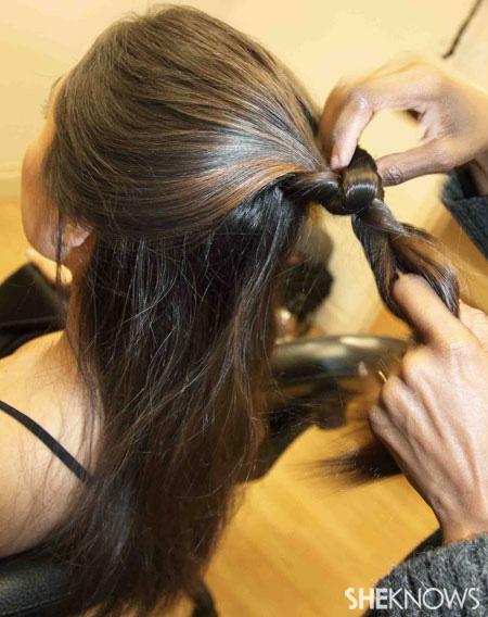 Fishtail braid step 2