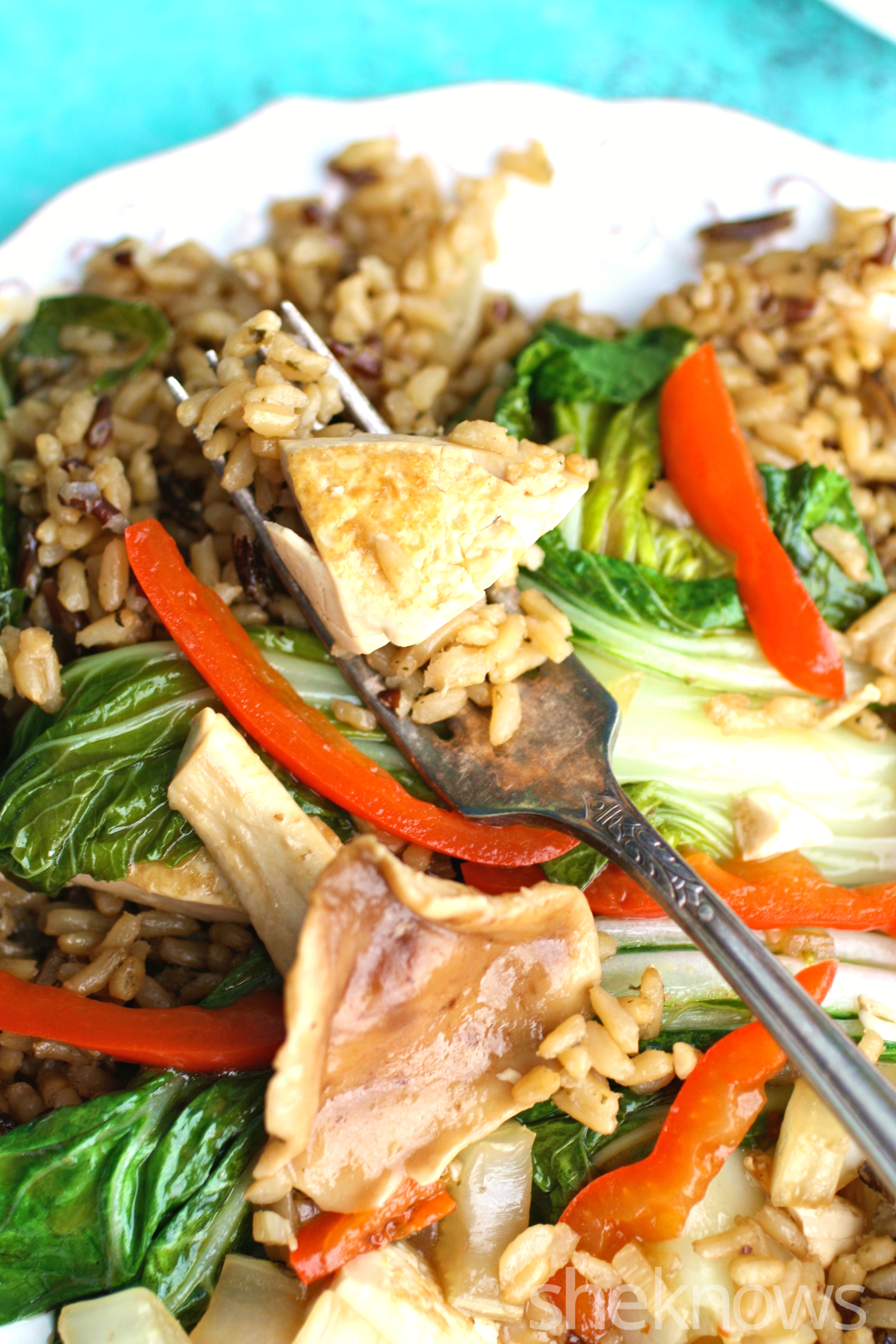 Grab a fork before this meal is gone! You'll love shiitake mushroom, bok choy, and tofu stir-fry on a Meatless Monday!
