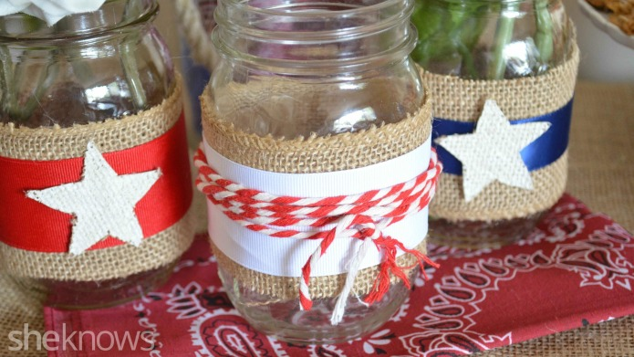 Adorn Mason jars with red, white