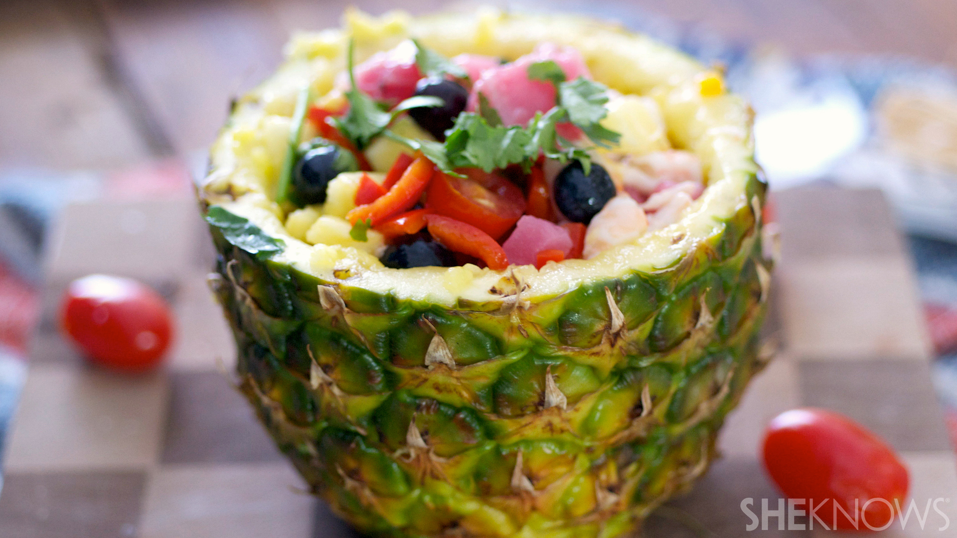 Tangy ceviche salad stuffed in a pineapple