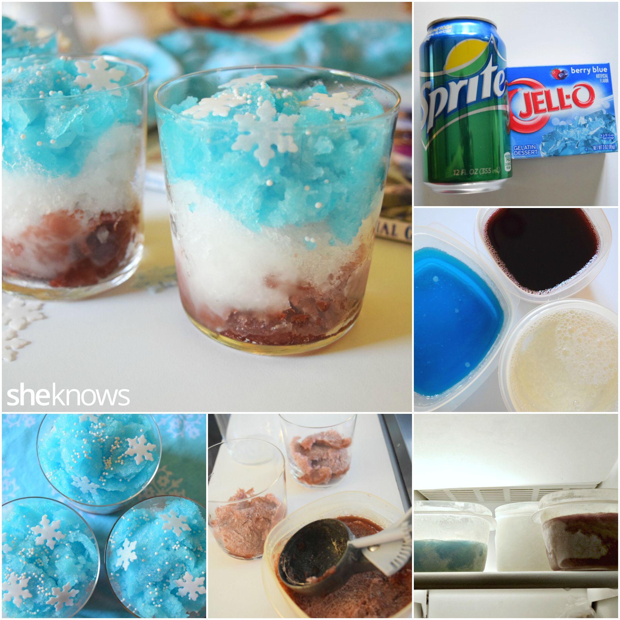 Frozen themed layered slushies how to