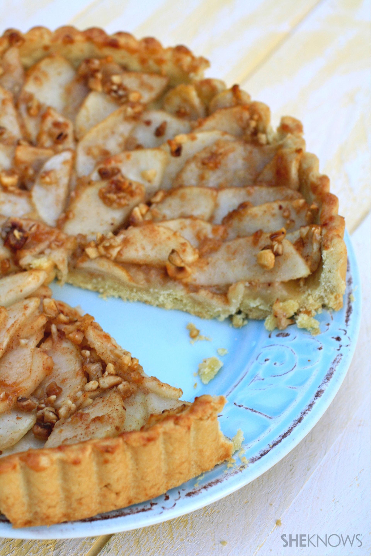 Gluten-free pear, honey, and hazelnut tart