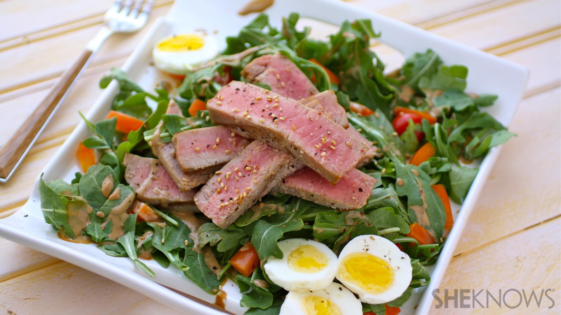 Gluten-free grilled tuna salad with creamy sesame-garlic dressing recipe